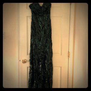Green and black sequin gown